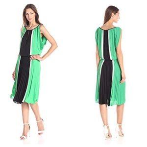 BCBG IONA Green, White, &  Blk Pleated Dress  Sz M